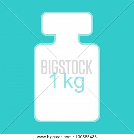Weight simple Icon. White icon with whitish background on torquoise flat color.