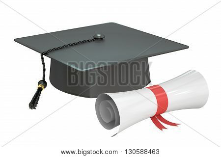 graduation cap diploma 3D rendering isolated on white background