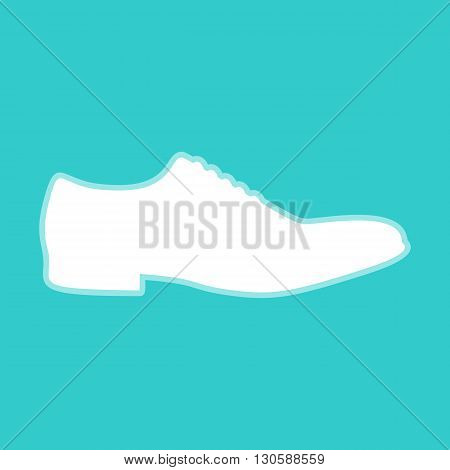 Men Shoes icon. White icon with whitish background on torquoise flat color.
