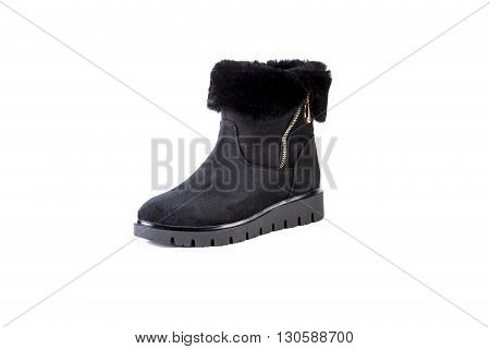 Suede women's boots on a white background black shoes autumn and winter