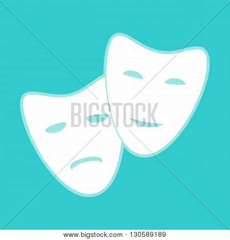 Theater icon with happy and sad masks. White icon with whitish background on torquoise flat color.
