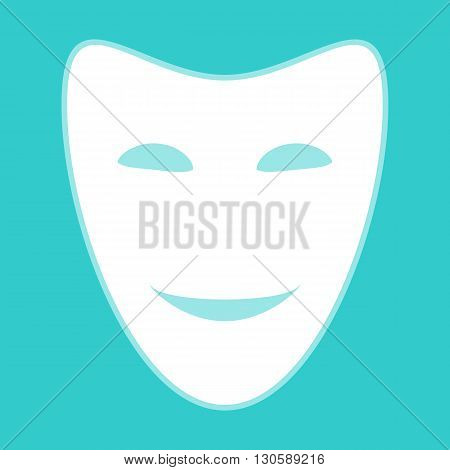 Comedy theatrical masks. White icon with whitish background on torquoise flat color.