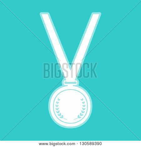 Medal simple Icon. White icon with whitish background on torquoise flat color.