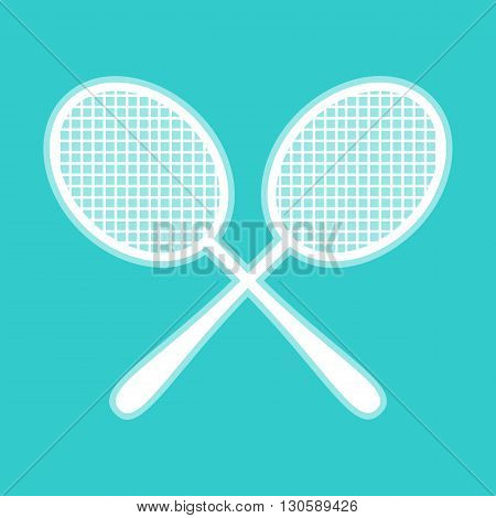 Tennis racquets icon. White icon with whitish background on torquoise flat color.