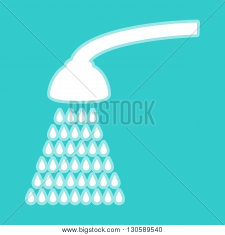 Shower simple icon. White icon with whitish background on torquoise flat color.