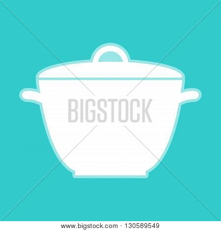 Saucepan simple Icon. White icon with whitish background on torquoise flat color.