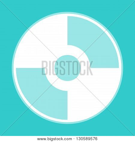 Vector CD or DVD icon. White icon with whitish background on torquoise flat color.