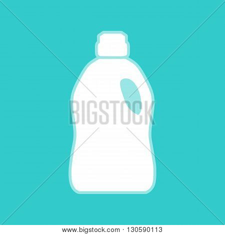 Plastic bottle for cleaning. White icon with whitish background on torquoise flat color.