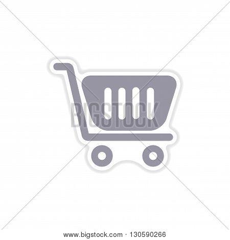 stylish paper sticker on white  background cart