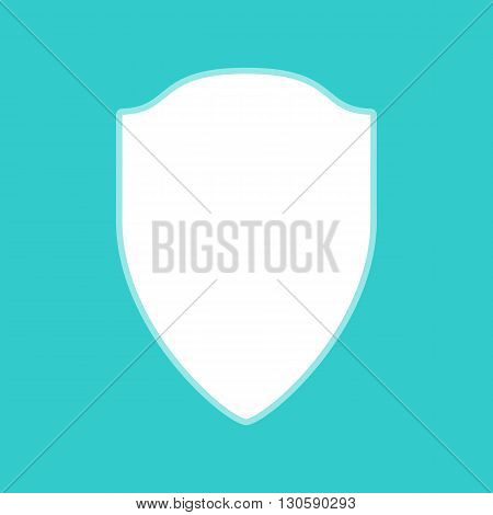 Shield sign. White icon with whitish background on torquoise flat color.