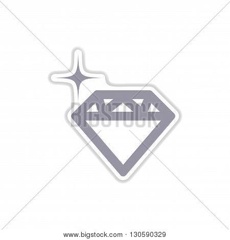stylish paper sticker on white  background diamond