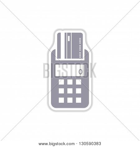 stylish paper sticker on white  background   terminal