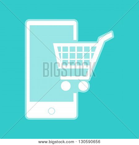 Shopping on smart phone sign. White icon with whitish background on torquoise flat color.