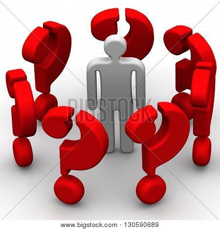 Around only issues. The symbol of a man surrounded by many red questions. The concept of problem solving. Isolated. 3D Illustration