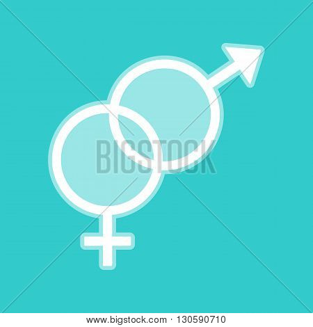 Sex symbol sign. White icon with whitish background on torquoise flat color.