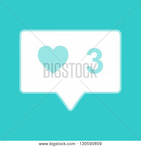 Like and comment sign. White icon with whitish background on torquoise flat color.