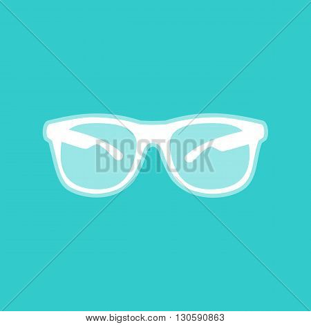 Sunglasses sign. White icon with whitish background on torquoise flat color.
