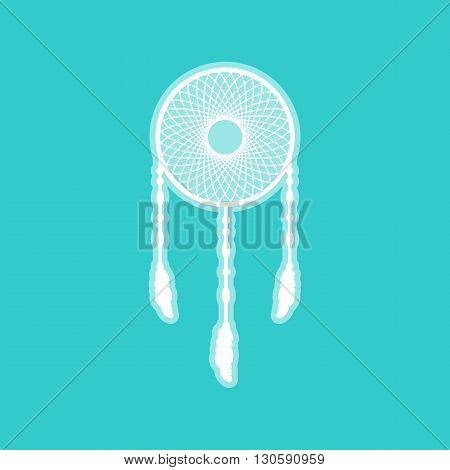 Dream catcher sign. White icon with whitish background on torquoise flat color.