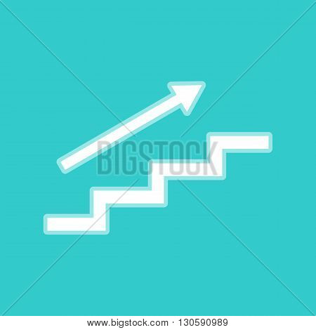 Stair with arrow. White icon with whitish background on torquoise flat color.