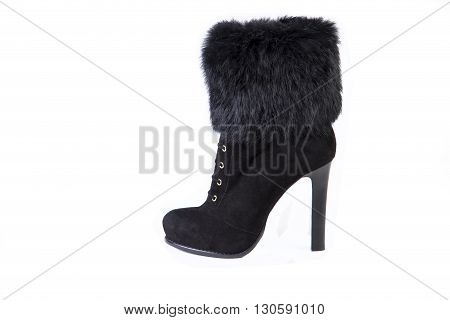 Women's Shoes On A White Background, Boots With Fur, Autumn And Winter Shoes