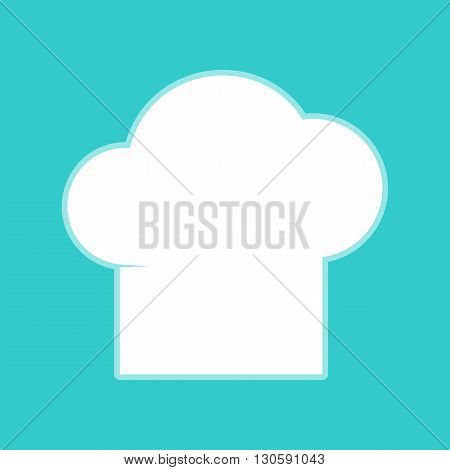 Chef cap sign. White icon with whitish background on torquoise flat color.