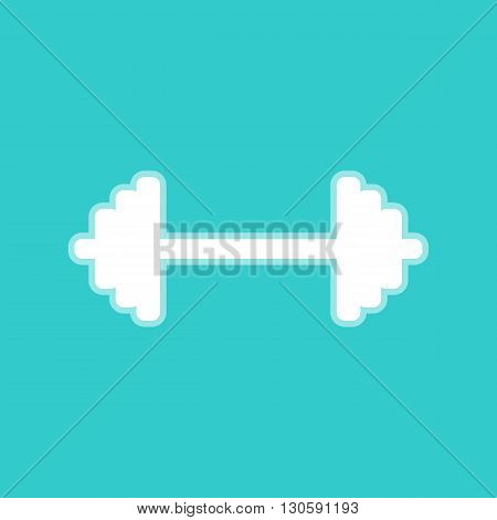 Dumbbell weights sign. White icon with whitish background on torquoise flat color.