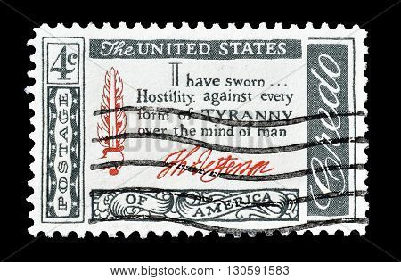 USA - CIRCA 1960 : Cancelled postage stamp printed by USA, that shows Thomas Jefferson Quotation.