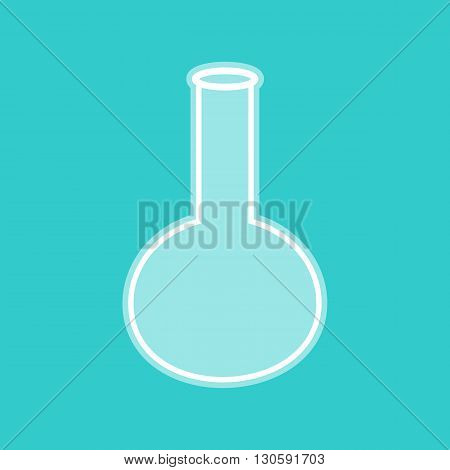 Tube. Laboratory glass sign. White icon with whitish background on torquoise flat color.