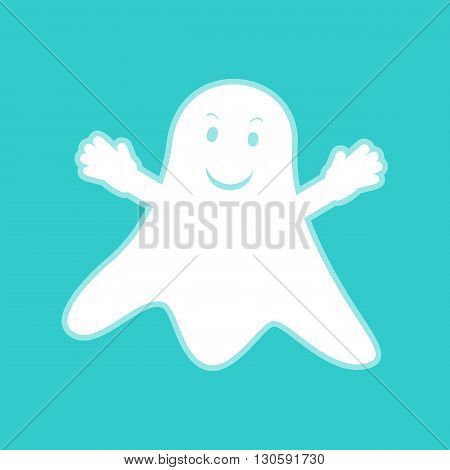Ghost isolated sign. White icon with whitish background on torquoise flat color.