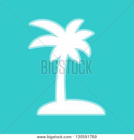 Coconut palm tree sign. White icon with whitish background on torquoise flat color.