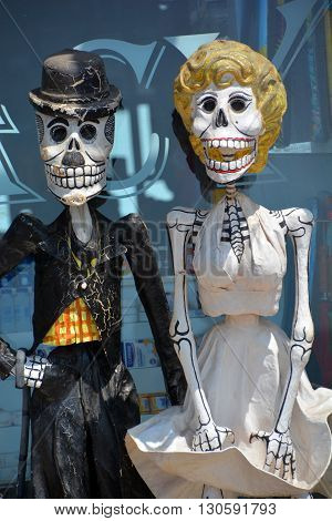 PUERTO VALLARTA MEXICO MAY 11 2016: Calaca a colloquial Mexican Spanish name for skeleton) is a figure of a skull or skeleton commonly used for decoration during the Mexican Day of the Dead festival