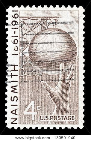 USA - CIRCA 1961 : Cancelled postage stamp printed by USA, that shows Basketball and hoop.