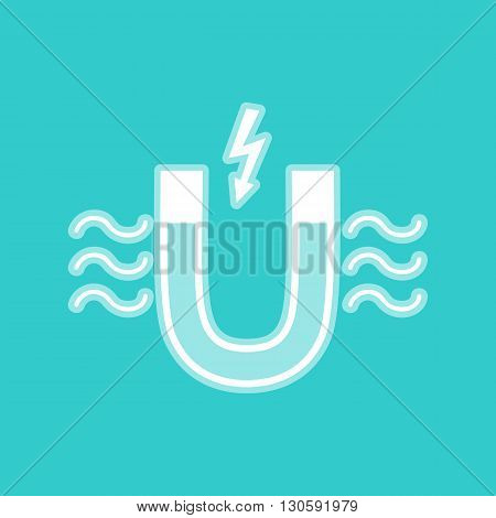 Icon of magnet with magnetic force indication. White icon with whitish background on torquoise flat color.
