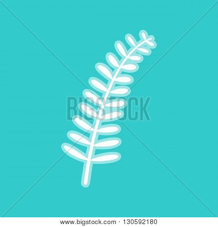 Olive twig sign. White icon with whitish background on torquoise flat color.