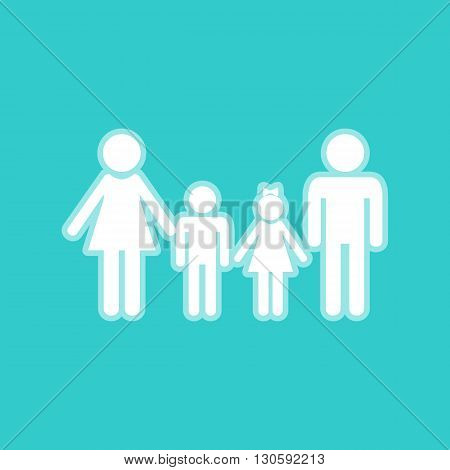 Family sign. White icon with whitish background on torquoise flat color.