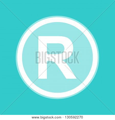 Registered Trademark sign. White icon with whitish background on torquoise flat color.