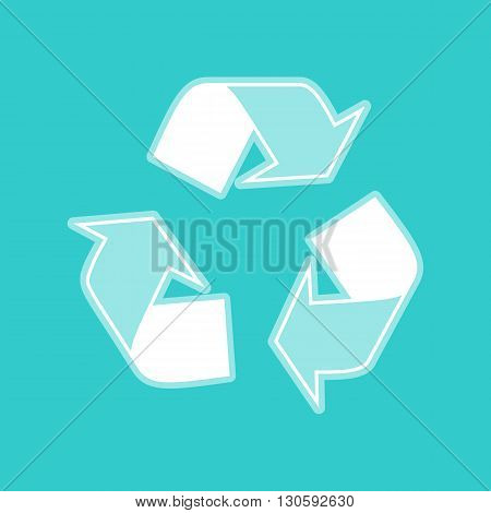 Recycle logo concept. White icon with whitish background on torquoise flat color.