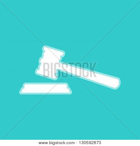 Justice hammer sign. White icon with whitish background on torquoise flat color.