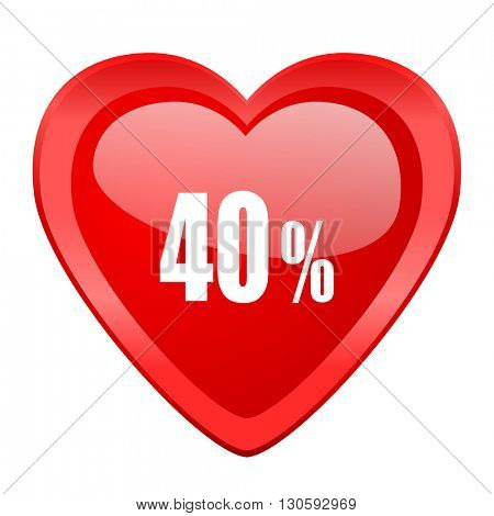 40 percent red heart valentine glossy web icon