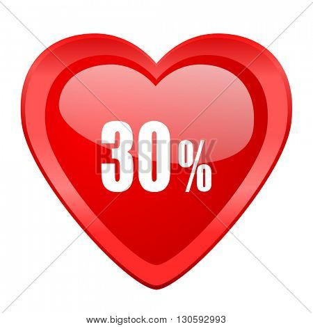 30 percent red heart valentine glossy web icon