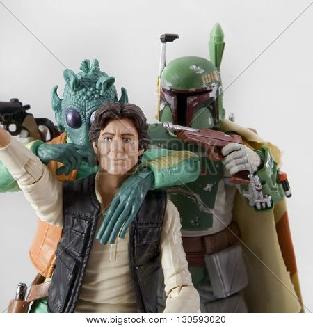 BLOOMFIELD, NJ - JAN 31, 2016: Best friend selfie concept - Han Solo chumming up with bounty hunters Boba Fett and Greedo using Hasbro Black Series Star Wars figures.