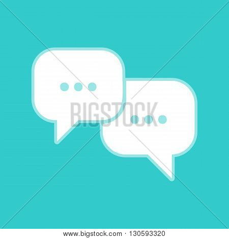 Speech bubbles sign. White icon with whitish background on torquoise flat color.