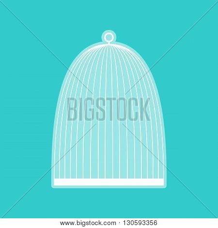 Bird cage sign. White icon with whitish background on torquoise flat color.