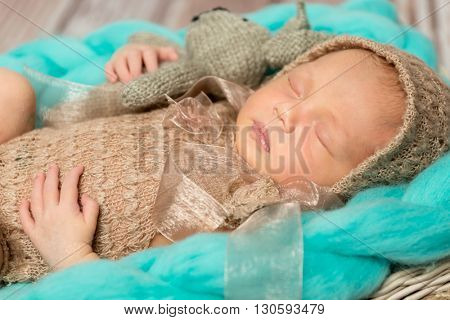 adorable newborn baby in costume with bunny-toy in cot top view
