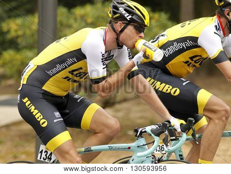 BARCELONA - MARCH, 27: Bert-Jan Lindeman of LottoNL-Jumbo Team rides during the Tour of Catalonia cycling race through the streets of Monjuich mountain in Barcelona on March 27, 2016