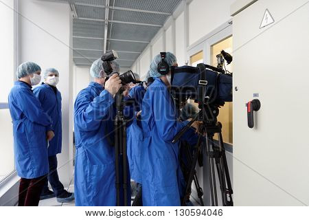 ST. PETERSBURG, RUSSIA - APRIL 18, 2016: Media representatives during the press tour to the microelectronic plant of JSC