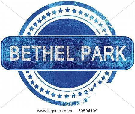 bethel park grunge blue stamp. Isolated on white.
