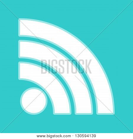 RSS sign. White icon with whitish background on torquoise flat color.
