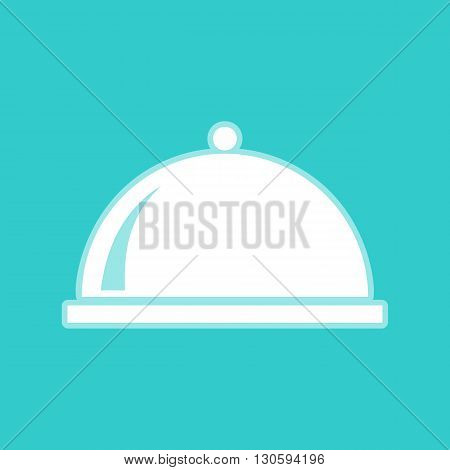 Server sign. White icon with whitish background on torquoise flat color.