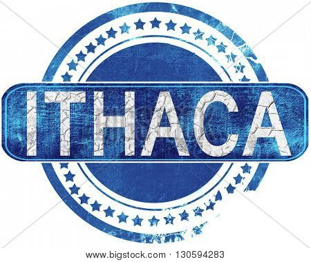 ithaca grunge blue stamp. Isolated on white.